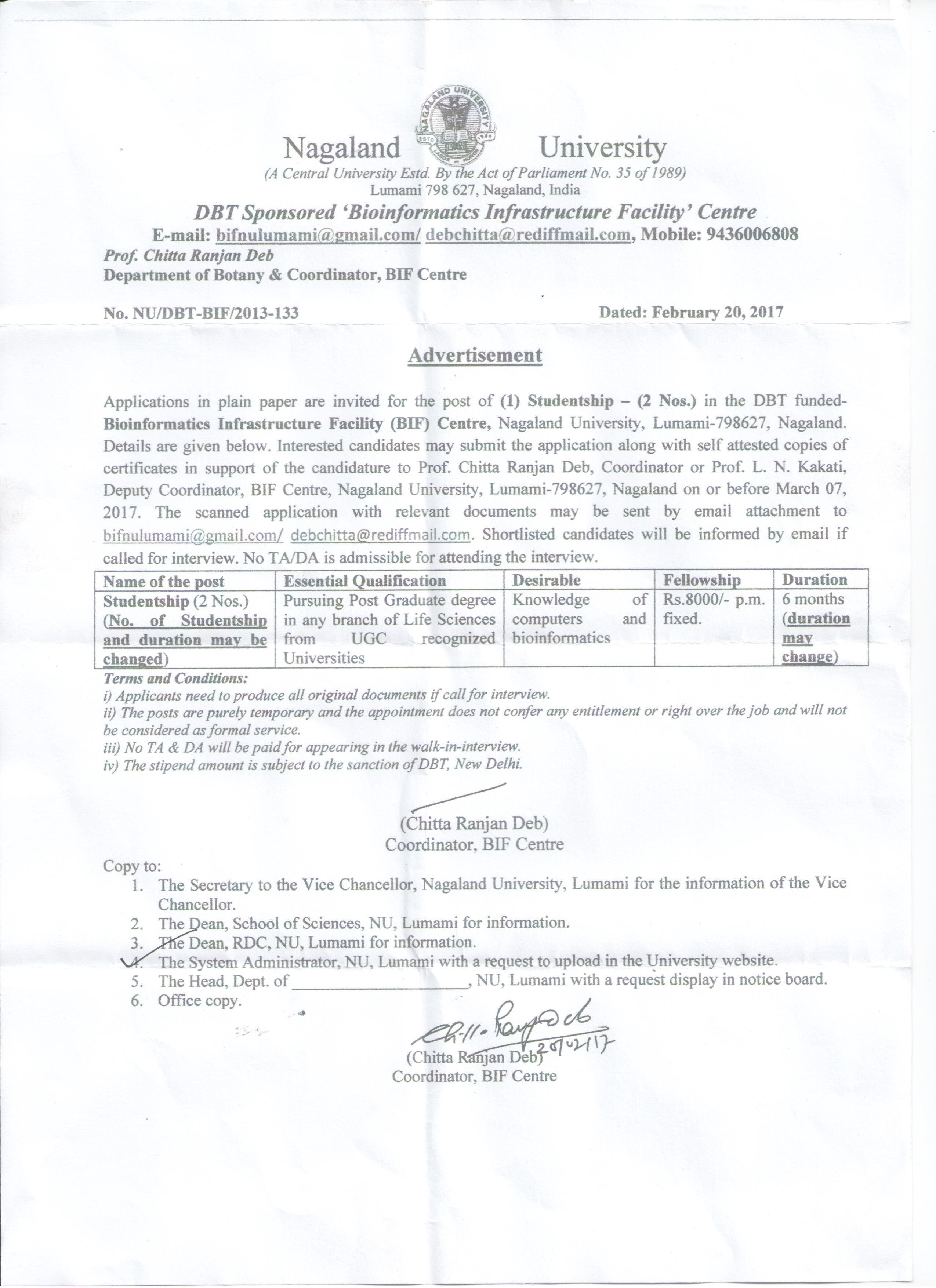 Nagaland University Recruitment 2017 Apply Online 02 Studentship – Recruitment Request Form